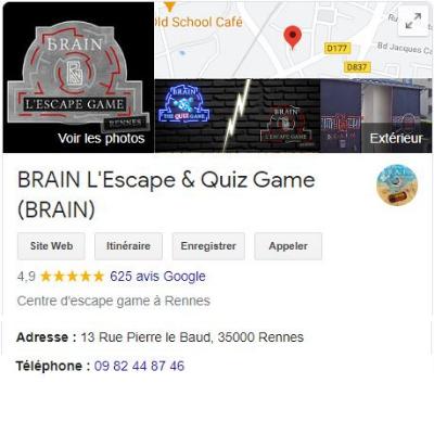 Avis google Brain l'Escape & Quiz Game